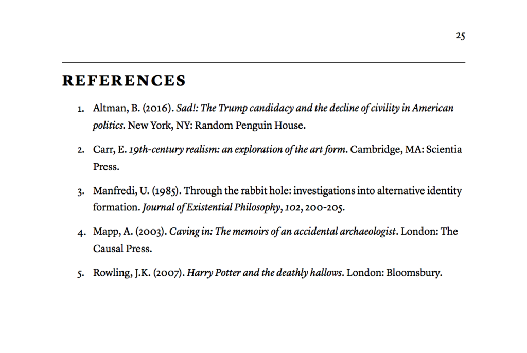 A reference list, still in APA format, but with clearer headings and sections.