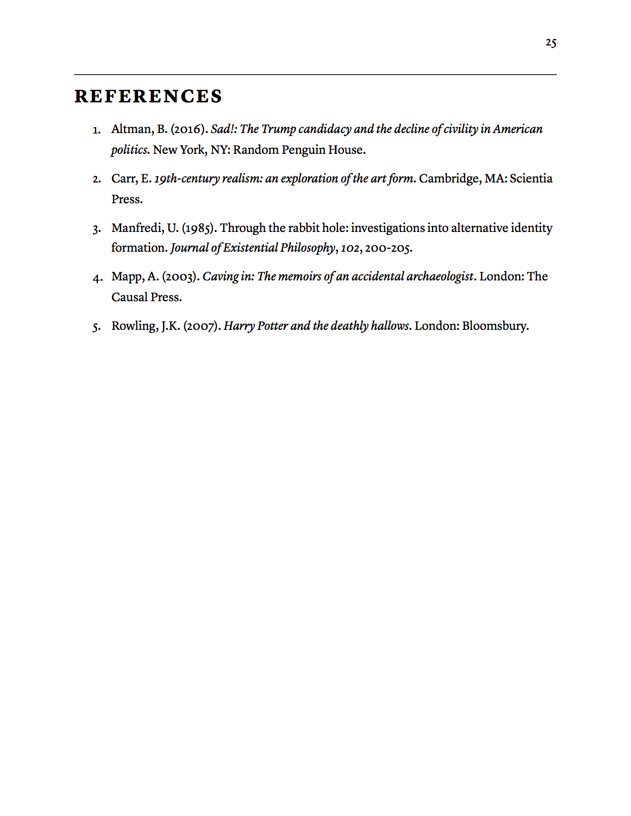 typography for academics the reference sheet standing in the a reference list still in apa format but clearer headings and sections