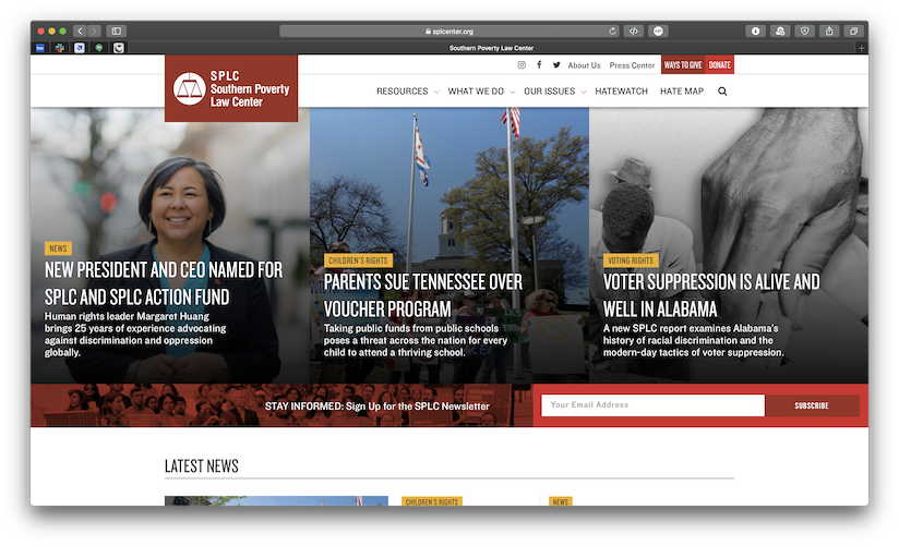 A screenshot of the Southern Poverty Law Center's website