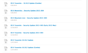A screenshot showing some OS X System Updates on Apple's website. All the dates are written in a numerical Month Day Year format.