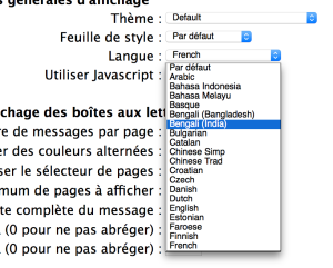 A drop-down menu with a language selector. The UI language is set to French, but all the language names are in English.