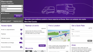Screenshot of the FedEx US website, set to Spanish. Most of the text is translated into Spanish but there are still several information panels written in English.