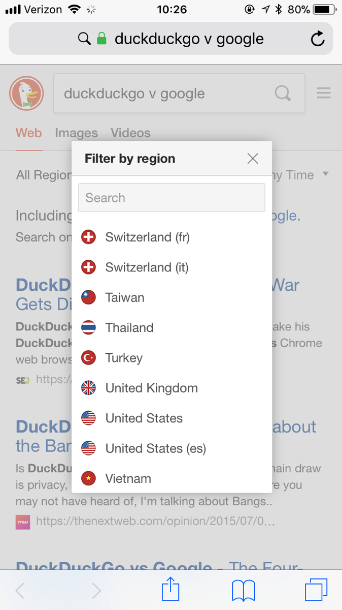 Screenshot of DuckDuckGo with a country selector.